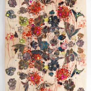 Textile Artist Louise Gardiner, Spontaneous Geraniums , Free Machine Embroidery, Painting and Applique