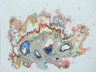 Louise Gardiner, Coral, Free Machine Embroidery, Painting and Applique