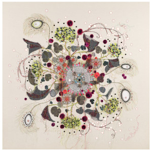 Textile Artist Louise Gardiner, Electric Blossom , Free Machine Embroidery, Painting and Applique