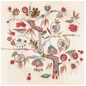 Textile Artist Louise Gardiner, Fruitful, Free Machine Embroidery, Painting and Applique