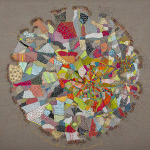 Textile Artist Louise Gardiner, Love Makes the World Go Round, Free Machine Embroidery, Painting and Applique