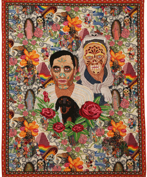 Calaverita 2014  Hand embroidery with cotton thread and jewerly effect on fabric Alexander Henry© 110 x 140 mts Chiachio & Giannone