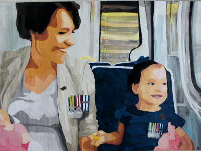 On The Train Anzac Day 2014 Quilt by Lucy Carroll.