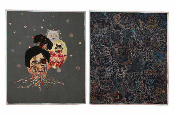 Tatuaje (Dipthyc)  2013 Hand embroidery with cotton thread and jewerly effect on fabric 165 x 138 m each one Chiachio & Giannone