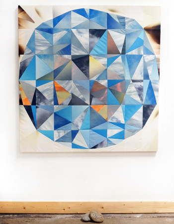 Amber Jean Young, quilt, Sky orb with stones2.1