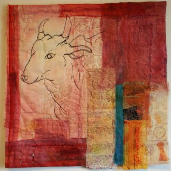 Cas Holmes, Sacred Cow in the Pink City  50x 50cm Cas Holmes