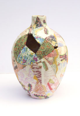 zoehillyard-ceramic-patchwork_brightonpatchvase-2013_silk-linen-ceamic-thread_25cmx16cm