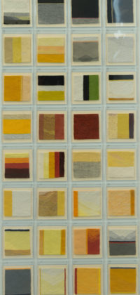 10. Using every last Thread. 52 boxes 18 x 15cm. each tapestry 8 x 8cm. Cotton Warp, Wool, Cotton,& Linen Weft. 2016 x copy