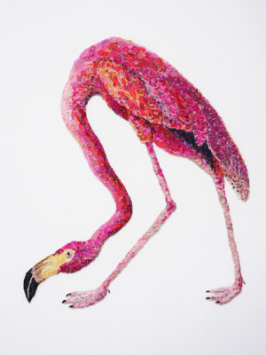Louise Saxton textiles flaming flamingo2011afterjohnjamesaudubon1838_lr