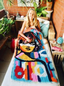 Niki McDonald, sewing on my balcony