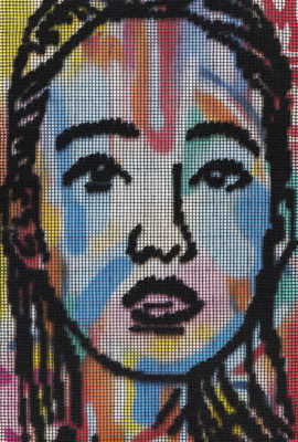 Niki McDonald, tapestry, Alice, 50x80cm, wool, tapestry mesh and paint, 2015